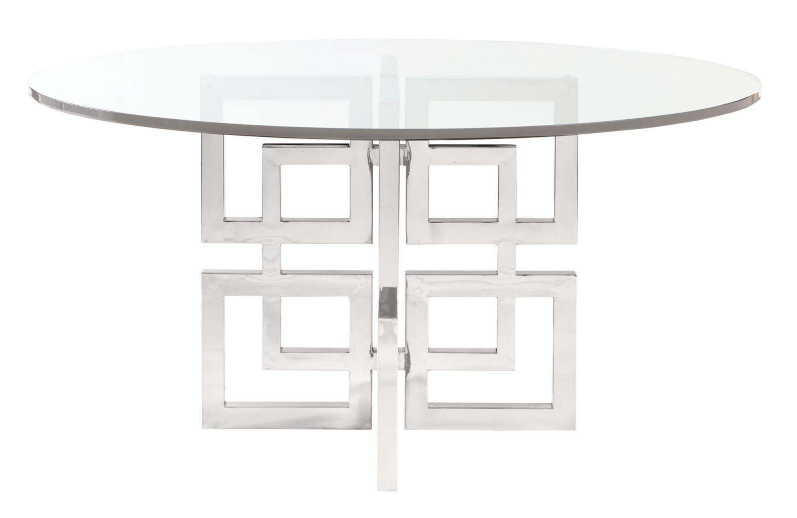 Soho Luxe Round Dining Table Glass Top and Metal Dining Table Base ...