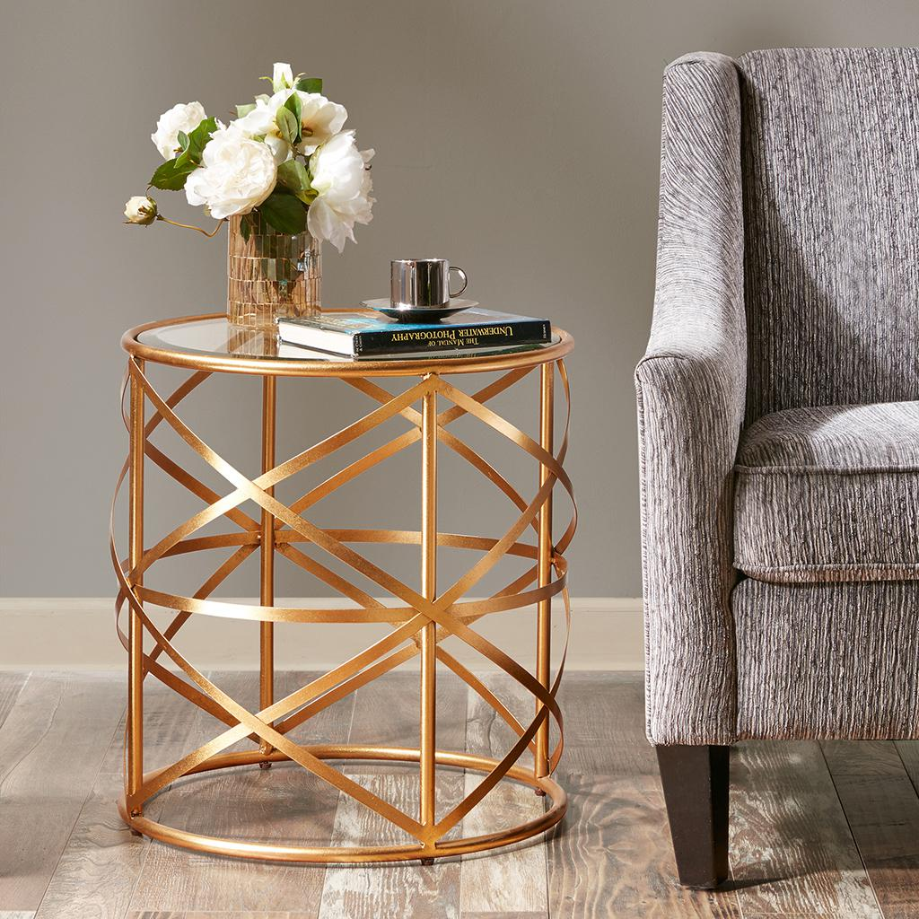 Nora 20 Inch Round End Table With Metallic Gold Metal ...