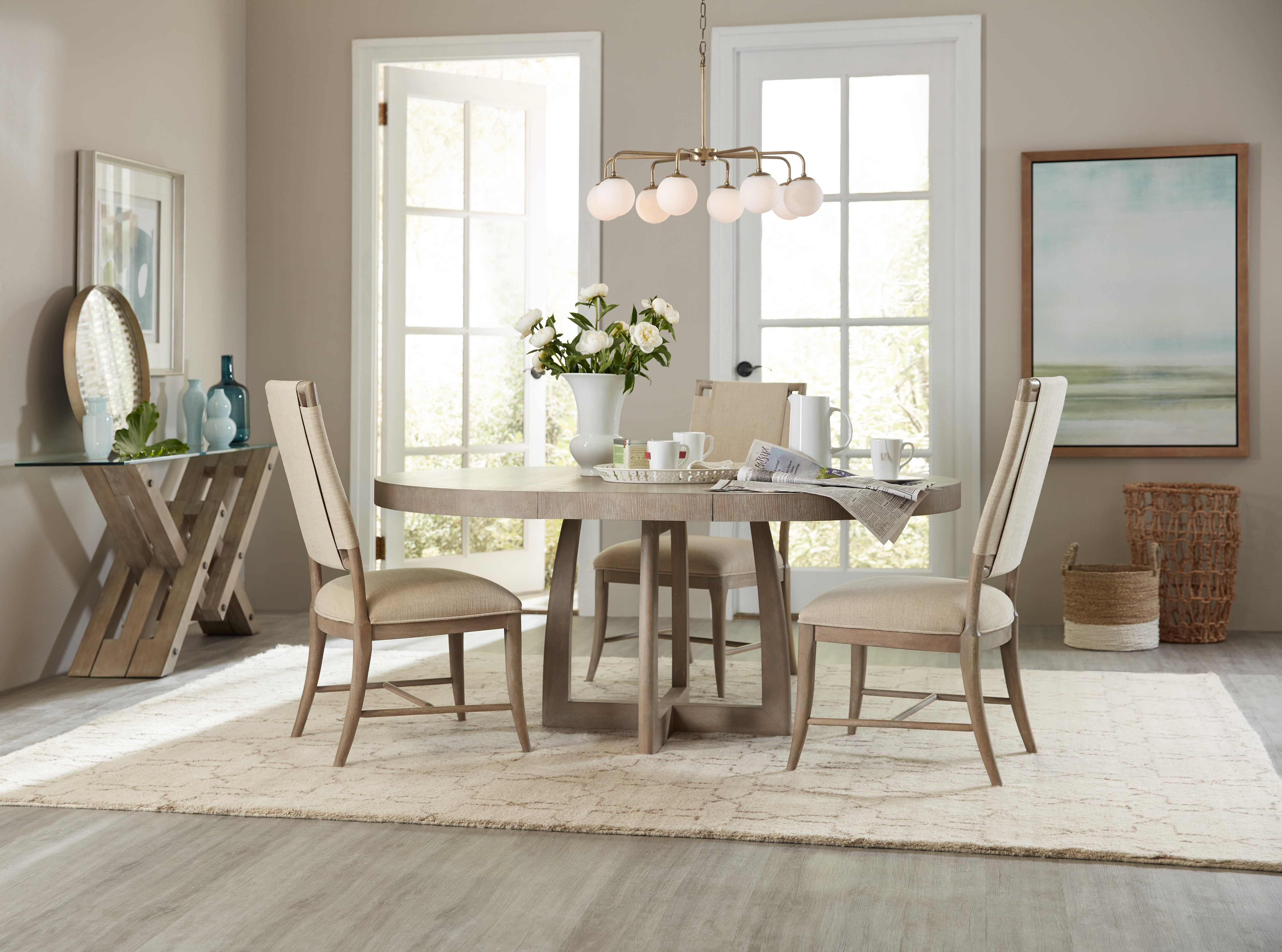 Affinity 48in Round Pedestal Dining Table W1 18in Leaf Brown