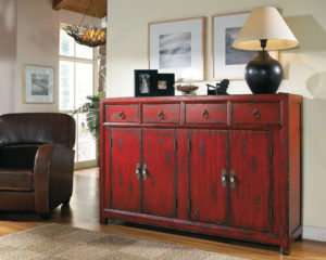 58'' Red Asian Cabinet