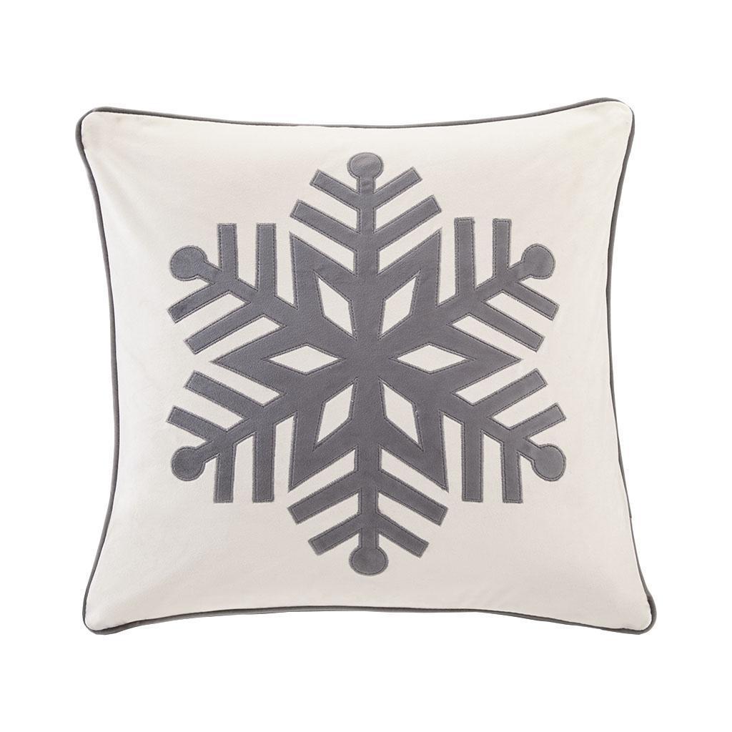 Velvet Snowflake Square Dec Pillow